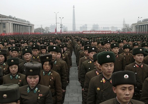 North Korean soldiers attend rally celebrating nuclear test / AP