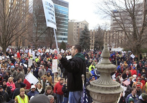 Right-to-Work protest in Michigan / AP