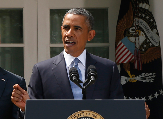 President Obama speaks Saturday, Aug. 31, about U.S. intervention in Syria. (AP Photo/Charles Dharapak)