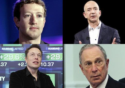 Zuckerberg, Bezos, Musk, Bloomberg / AP
