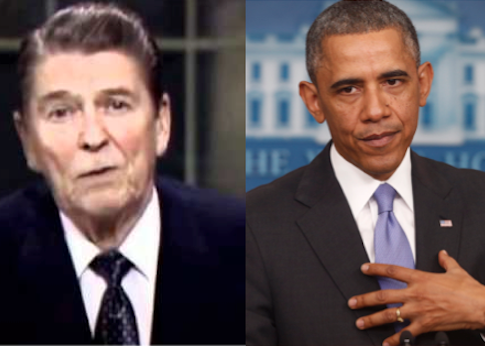 Reagan's televised address apologizing for Iran-contra scandal and Obama apologizing for Obamacare rollout / AP
