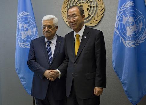 Palestinian National Authority Leader Mahmoud Abbas and UN Secretary-General Ban Ki-moon