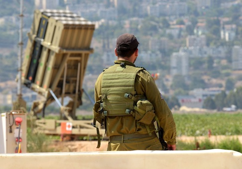 An Iron Dome missile interceptor overlooking Haifa, Israel / AP