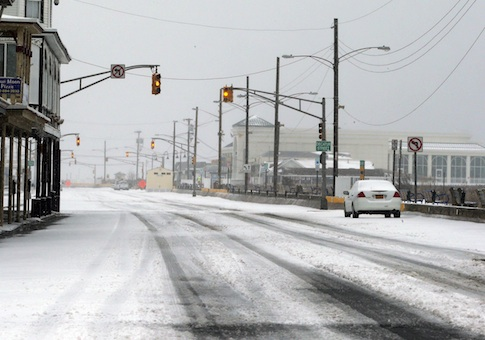 Snow and ice-covere Beach Avenue in Cape May, N.J.