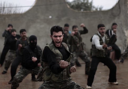 Syrian rebel training session / AP