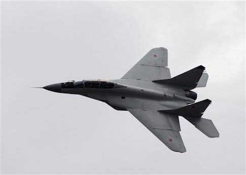 Russian MIG-29 plane performs a flight during a celebration marking the Russian air force's 100th anniversary in Zhukovsky, outside Moscow, Russia