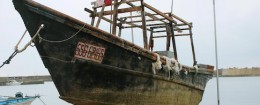Unidentified wooden boat which was found in the sea off Noto Peninsula, is seen in Wajima