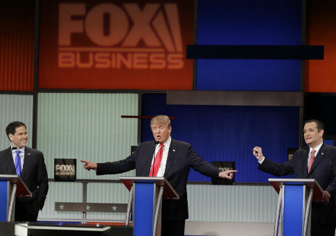 Marco Rubio, Donald Trump, and Ted Cruz at the the Fox Business Network Republican presidential debate at the North Charleston Coliseum / AP