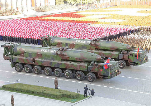 KN-14 intercontinental ballistic missiles on display at an Oct. 10 military parade in Pyongyang
