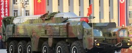 North Korea Musudan intermediate-range ballistic missile showcased during a military parade in Pyongyang