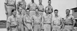 Maj. Thomas Ferebee and other crew members of the Enola Gay / AP