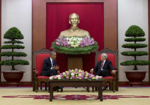 President Obama meets with Nguyen Phu Trong, general secretary of the Vietnamese Communist Party  / AP