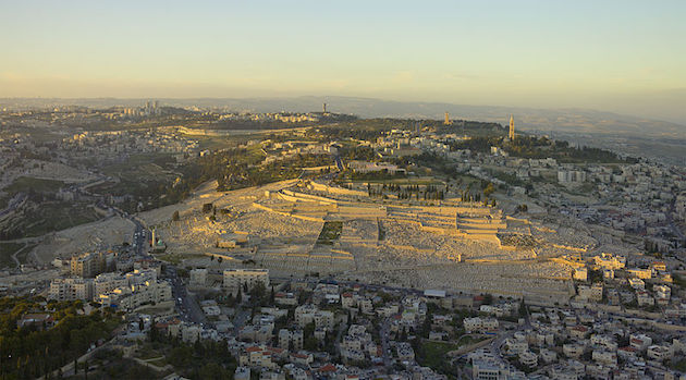 Aerial view of the Mount of Olives