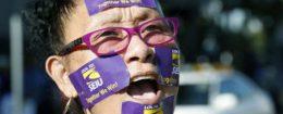 A protestor at an SEIU rally in Los Angeles, California / AP