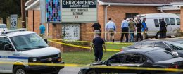 Law enforcement continues their investigation around the Burnette Chapel Church of Christ on September 24 in Antioch, Tennessee