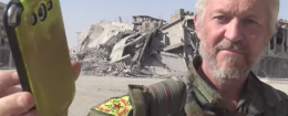 British actor Michael Enright playing Ariana Grande's song 'Bang Bang' in Raqqa, Syria