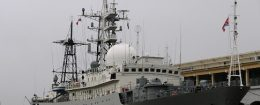 The Viktor Leonov CCB-175, a Russian Navy intelligence warship, is docked to a pier in Old Havana