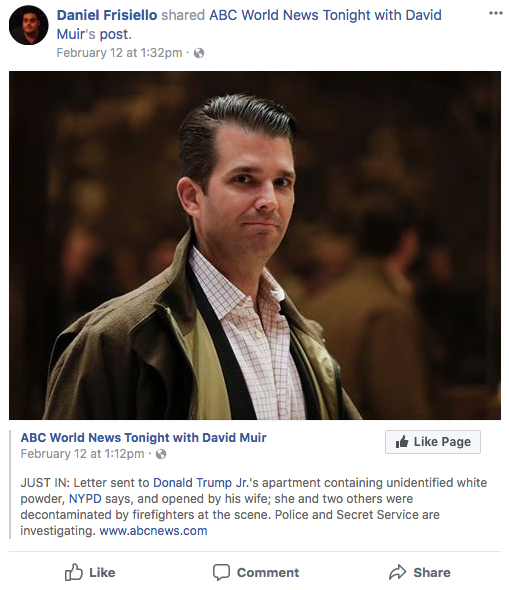 Man Arrested After Sending Mysterious White Substance To Donald Trump Jr
