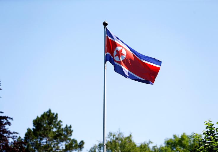 The flag of North Korea is seen in Geneva